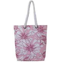 Pink Flowers Full Print Rope Handle Tote (small) by Sobalvarro