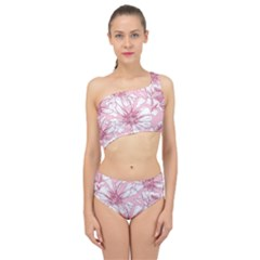 Pink Flowers Spliced Up Two Piece Swimsuit by Sobalvarro