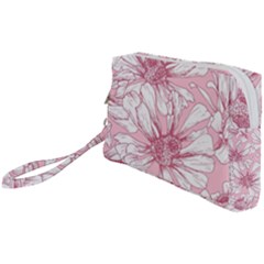 Pink Flowers Wristlet Pouch Bag (small) by Sobalvarro
