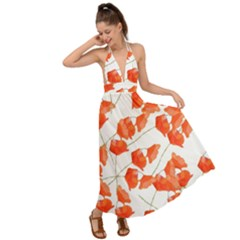 Pattern Coquelicots  Backless Maxi Beach Dress