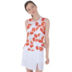 Pattern Coquelicots  Women s Sleeveless Mesh Sports Top by kcreatif