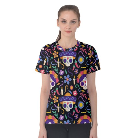 Dia De Los Muertos Women s Cotton Tee by Sobalvarro