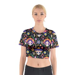 Dia De Los Muertos Cotton Crop Top by Sobalvarro