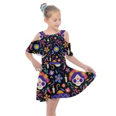 Dia De Los Muertos Kids  Shoulder Cutout Chiffon Dress by Sobalvarro