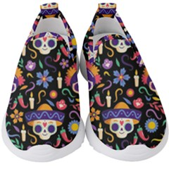 Dia De Los Muertos Kids  Slip On Sneakers by Sobalvarro