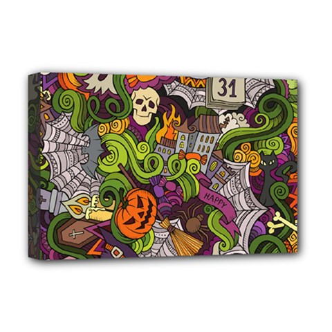 Halloween Doodle Vector Seamless Pattern Deluxe Canvas 18  X 12  (stretched) by Sobalvarro