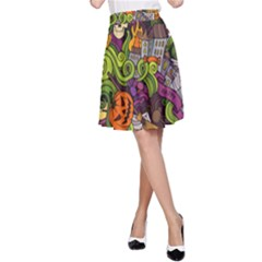 Halloween Doodle Vector Seamless Pattern A-line Skirt by Sobalvarro
