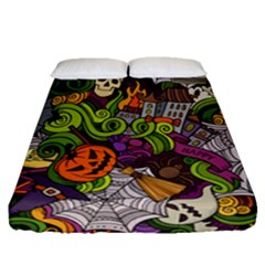 Halloween Doodle Vector Seamless Pattern Fitted Sheet (queen Size) by Sobalvarro