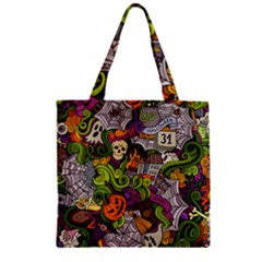 Halloween Doodle Vector Seamless Pattern Zipper Grocery Tote Bag by Sobalvarro