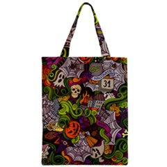 Halloween Doodle Vector Seamless Pattern Zipper Classic Tote Bag by Sobalvarro