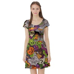 Halloween Doodle Vector Seamless Pattern Short Sleeve Skater Dress by Sobalvarro