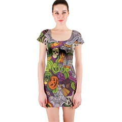 Halloween Doodle Vector Seamless Pattern Short Sleeve Bodycon Dress by Sobalvarro