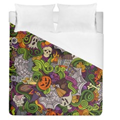 Halloween Doodle Vector Seamless Pattern Duvet Cover (queen Size) by Sobalvarro