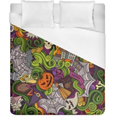Halloween Doodle Vector Seamless Pattern Duvet Cover (california King Size) by Sobalvarro
