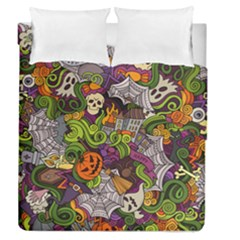Halloween Doodle Vector Seamless Pattern Duvet Cover Double Side (queen Size) by Sobalvarro