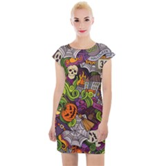 Halloween Doodle Vector Seamless Pattern Cap Sleeve Bodycon Dress by Sobalvarro