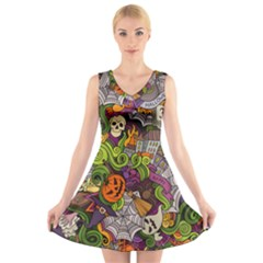 Halloween Doodle Vector Seamless Pattern V-neck Sleeveless Dress by Sobalvarro