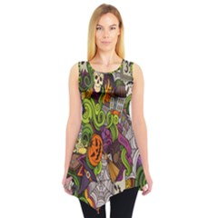 Halloween Doodle Vector Seamless Pattern Sleeveless Tunic by Sobalvarro