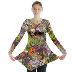 Halloween Doodle Vector Seamless Pattern Long Sleeve Tunic  by Sobalvarro