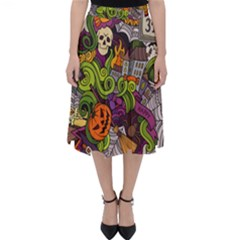 Halloween Doodle Vector Seamless Pattern Classic Midi Skirt by Sobalvarro