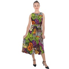 Halloween Doodle Vector Seamless Pattern Midi Tie-back Chiffon Dress by Sobalvarro