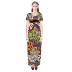 Halloween Doodle Vector Seamless Pattern Short Sleeve Maxi Dress by Sobalvarro