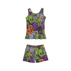 Halloween Doodle Vector Seamless Pattern Kids  Boyleg Swimsuit by Sobalvarro
