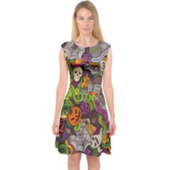 Halloween Doodle Vector Seamless Pattern Capsleeve Midi Dress by Sobalvarro