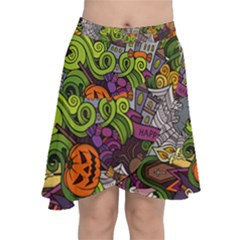 Halloween Doodle Vector Seamless Pattern Chiffon Wrap Front Skirt by Sobalvarro