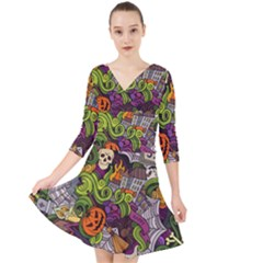 Halloween Doodle Vector Seamless Pattern Quarter Sleeve Front Wrap Dress by Sobalvarro