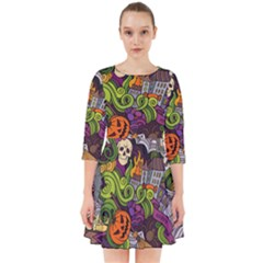 Halloween Doodle Vector Seamless Pattern Smock Dress by Sobalvarro