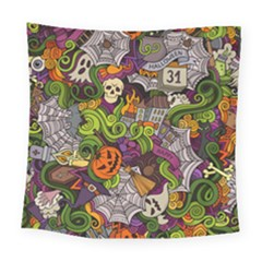 Halloween Doodle Vector Seamless Pattern Square Tapestry (large) by Sobalvarro