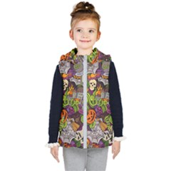 Halloween Doodle Vector Seamless Pattern Kids  Hooded Puffer Vest by Sobalvarro