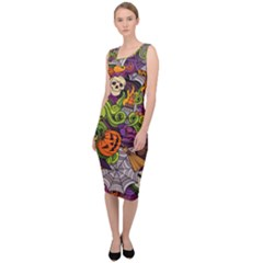 Halloween Doodle Vector Seamless Pattern Sleeveless Pencil Dress by Sobalvarro