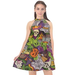 Halloween Doodle Vector Seamless Pattern Halter Neckline Chiffon Dress  by Sobalvarro