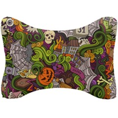 Halloween Doodle Vector Seamless Pattern Seat Head Rest Cushion by Sobalvarro