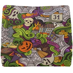 Halloween Doodle Vector Seamless Pattern Seat Cushion by Sobalvarro