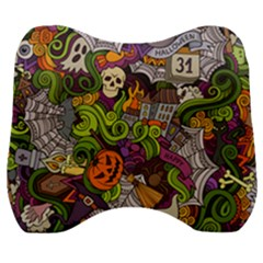 Halloween Doodle Vector Seamless Pattern Velour Head Support Cushion by Sobalvarro