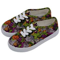 Halloween Doodle Vector Seamless Pattern Kids  Classic Low Top Sneakers by Sobalvarro