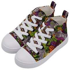 Halloween Doodle Vector Seamless Pattern Kids  Mid-top Canvas Sneakers by Sobalvarro