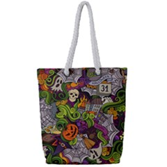 Halloween Doodle Vector Seamless Pattern Full Print Rope Handle Tote (small) by Sobalvarro