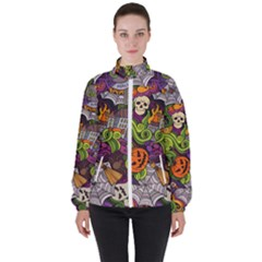 Halloween Doodle Vector Seamless Pattern Women s High Neck Windbreaker