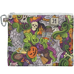 Halloween Doodle Vector Seamless Pattern Canvas Cosmetic Bag (xxxl) by Sobalvarro