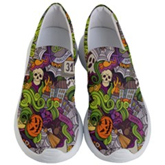 Halloween Doodle Vector Seamless Pattern Women s Lightweight Slip Ons by Sobalvarro