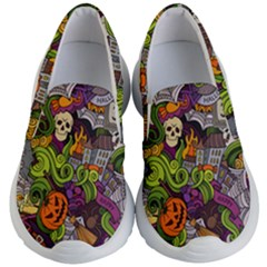 Halloween Doodle Vector Seamless Pattern Kids Lightweight Slip Ons by Sobalvarro
