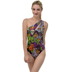 Halloween Doodle Vector Seamless Pattern To One Side Swimsuit by Sobalvarro