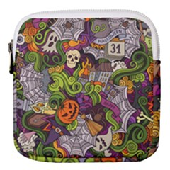 Halloween Doodle Vector Seamless Pattern Mini Square Pouch by Sobalvarro