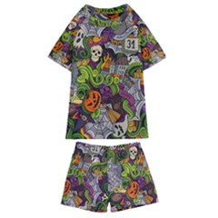 Halloween Doodle Vector Seamless Pattern Kids  Swim Tee And Shorts Set by Sobalvarro
