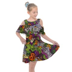 Halloween Doodle Vector Seamless Pattern Kids  Shoulder Cutout Chiffon Dress by Sobalvarro