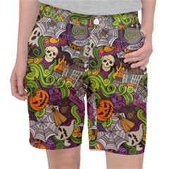 Halloween Doodle Vector Seamless Pattern Pocket Shorts by Sobalvarro